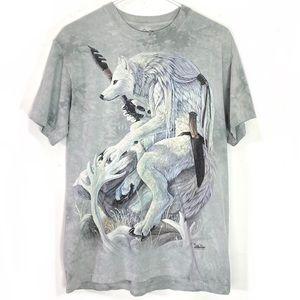 2005 The Mountain White Wolf Tie Dye Tshirt Medium